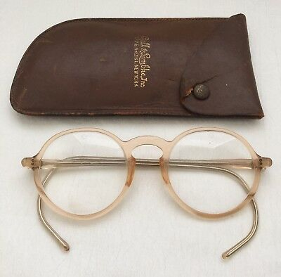 ANTIQUE BLONDE Celluloid Safety EYEGLASSES within Leather Looking Slide Case