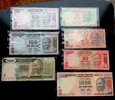 Lot Of 7-Reserve Bank Of India Rupees-(5,10,20,50,100,500,100)