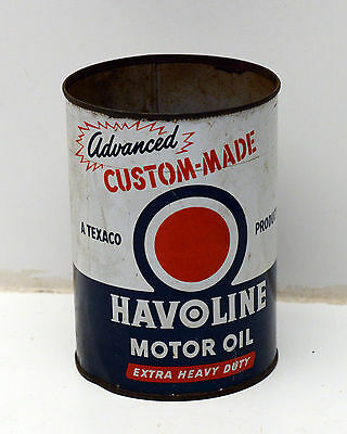 Vintage Havoline Quart Motor Oil Can Metal