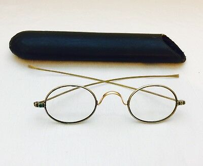 Antique Silver Tone Curly Nose CIVIL WAR FRANKLIN Looking Spectacles w/ Case