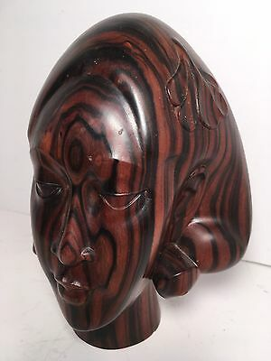 """Vintage BALI INDONESIA Hand Carved Wood Statue Bust Woman 7"""" Home Decor Signed"""
