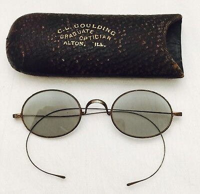 Antique Silver Tone CIVIL WAR FRANKLIN Look GREEN TINTED Spectacles w/ TUBE Case