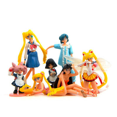 Sailor Moon Crystal Tsukino Usagi Mizuno Ami 7 PCS Anime Cake Topper Gift Toys