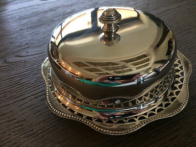 Round Butter Dish with Domed Lid, SilverPlated