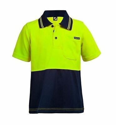 1 x KIDS WORK POLO SHIRT COOL plusFREEbrown jumper MICROMESH SHORT SLEEVE HI VIS