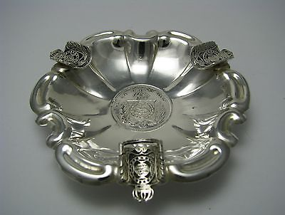 Brazilian Coin Silver Ashtray Tray Plate Dish 1860 Brazil 500 Reis Silver Coin