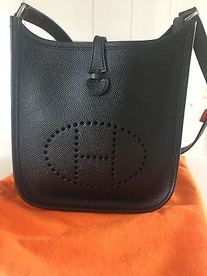 Authentic HERMES Evelyne TPM ShoulderBag Black Veau Epsom Leather Good Condition