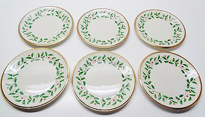 6 LENOX ~ Christmas HOLIDAY BREAD OR DESSERT PLATES 6 1/4 INCHES