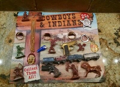 Vintage Cowboys and Indians 25c Gumball Vending Machine Disp Card Toys