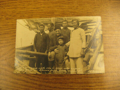 Chinese Junk Amoy Shanghai / Victoria BC 1922  Real Photo Postcard Captain Waard