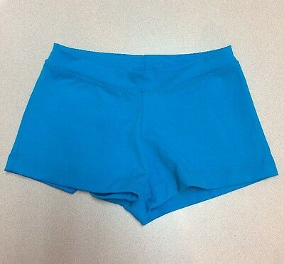 CAPEZIO Nylon Spandex Teal Blue Turquoise DANCE JAZZ BOY SHORTS Adult Small NWOT