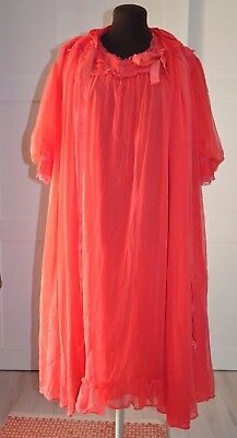 Vintage Red Sexy Chiffon Style Peignoir and Nightgown Linda Underlovelies