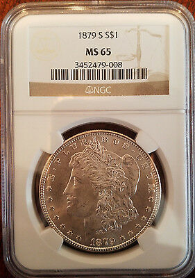 1879 S 90% silver Morgan dollar NGC MS 65