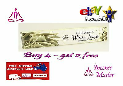GREEN TREE WHITE SAGE CALIFORNIA  AROMA Incense Stick- 15g X 1pack CLEANSING