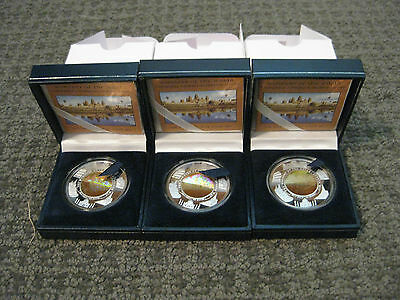 3-2001 Cambodia Angkor Wat Silver Proof Hologram Coins-The Wonders of the World