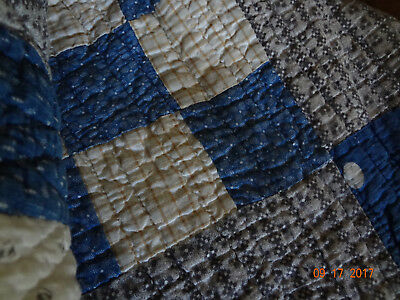 "Antique Blue and Black/Gray Nine-Patch Quilt - 61"" x 69/Good Condition/Nice!"