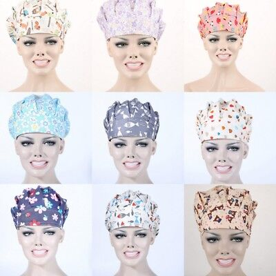 Professional Doctor Nurse Printing Scrub Cap Medical Surgical Surgery Hat New
