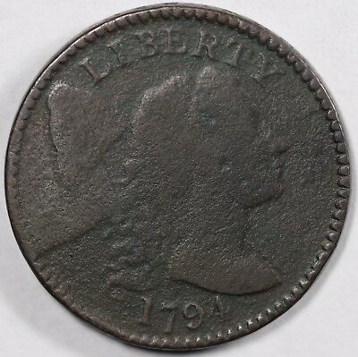 1794 1c Flowing Hair Large Cent S-68 LDS UNSLABBED