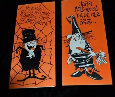 Lot 2 Vintage HALLOWEEN Greeting Cards WITCH WEB United Card Co FLOCKED GLITTER