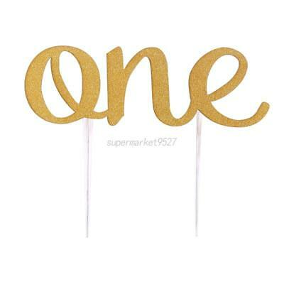 Baby First Birthday Letter ONE Cake Topper Sparkling Gold Glitter Decoration Hot