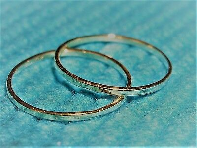 9 Carat Solid Yellow Gold Pair Of Very Fine Keeper Or Stacking Rings