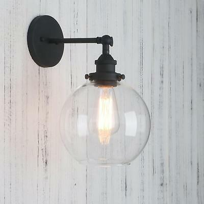 Permo Clear Glass Globe Wall Sconce Vintage Industrial 1-Light Rustic ... NO TAX