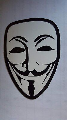 V FOR VENDETTA ANONAMOUS sticker decal car wall unused unstuck quality 7 X 5 cm