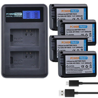 For Sony Alpha a6500 a6400 a6300 a6000 NP-FW50 FW50 Battery+LCD USB Dual Charger
