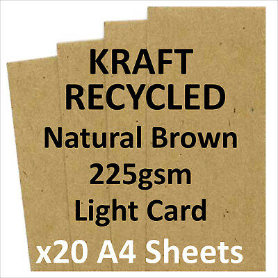 QUALITY KRAFT BROWN RECYCLED CARD 225gsm (x20 A4 SHEETS)