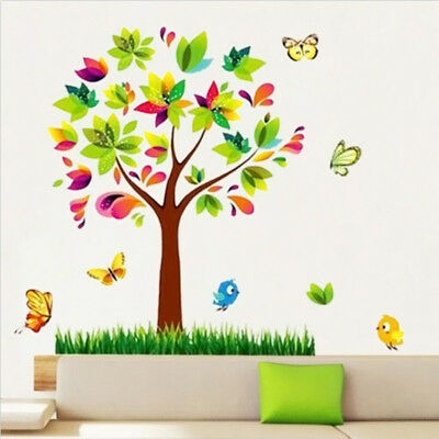 Tree Butterfly Wall Decals Family Wall Stickers Art Decor Girl Kids Nursery Room