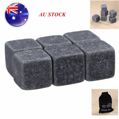 6 Natural Whiskey Stones Sipping Ice Cube Whisky cooler Stone Bar Party Black