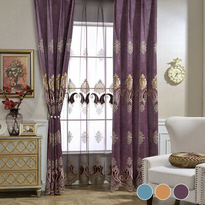 European Curtains Applique Blackout Velvet Cloth Drape Transparent Sheer 1 Piece
