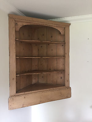 Victorian Pine Wall Mounted Corner Unit Shelf Cupboard Antique Farmhouse Rustic