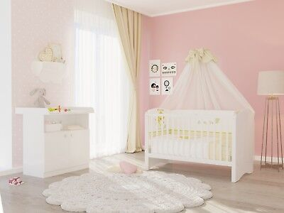 polini kids babyzimmer set 3 teilig babybett mit wickelkommode und matratze eur 189 90. Black Bedroom Furniture Sets. Home Design Ideas