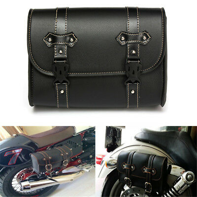 Black MOTORCYCLE MOTORBIKE LEATHER TOOL SADDLE BAG Luggage For Harley Davidson