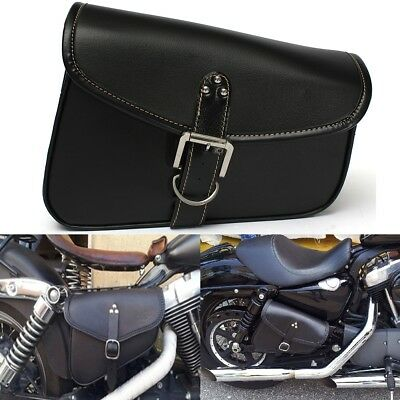 PU Leather Motorcycle Saddle Bags Saddlebags Side Storage Tool Black FOR Harley