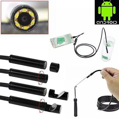 1x 7mm Android/Phone Endoscope IP67 Inspection Borescope HD 6LED Camera video ❀F