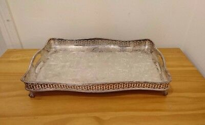 Antique English Silver Plated Serving Tray Gallery Edge