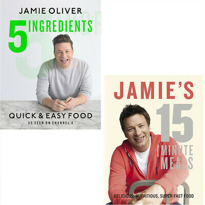 Jamie Oliver Collection 2 Books Set 5 Ingredients - Quick & Easy Food,15 Minute