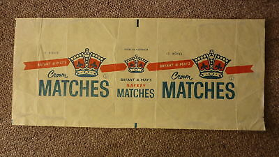 Old Australian Matchbox Label, Brymay Crown Matches Box Of 12