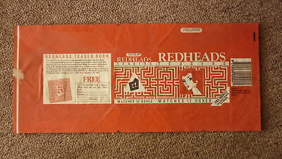 Old Australian Matchbox Label, Brymay Redheads Large Box Of 12, Teasers