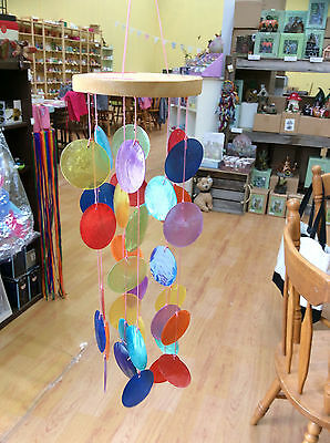 Rainbow capiz shell mobile windchime wind chime chimes