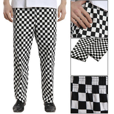 CHEF TROUSERS White Black Check Kitchen Catering Cook Pants Uniform Unisex S XXL
