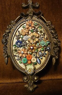 Jewelry Art Bouquet in Vintage Oval Frame, signed by Artist