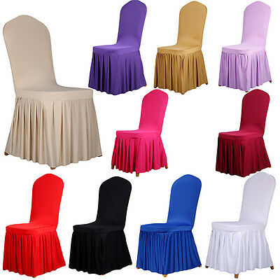 New!Dining Room Wedding Banquet Stretch Chair Covers Pleated Pendulum Seat Cover