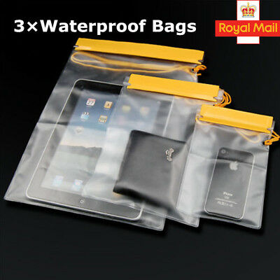 3 x Waterproof Dry Bags For Camera IPAD Mobile Pouch Backpack Kayak Military New