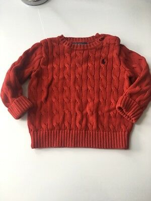 Ralph Lauren Boys Cable Knit Jumper Red 18 Months
