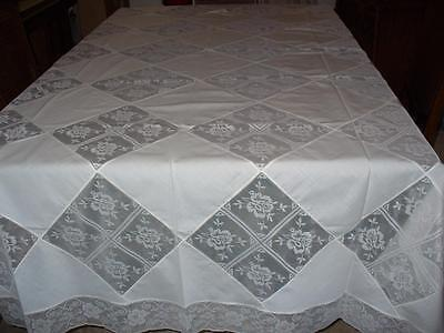 Vintage Cotton Tablecloth 12 Matching Napkins New Old Stock Off White 136 x 52