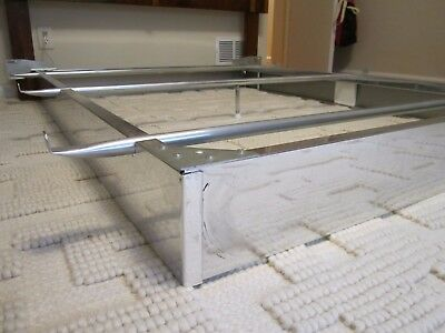 1960s CHROME queen size BED FRAME steel shiny SILVER vintage mid CENTURY lane