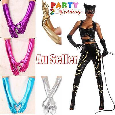 Ladies Womens Long Leather Metallic Gloves Dance Costume Cosplay Party Dress up